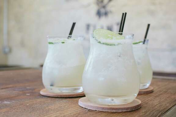 Eight Row Flint Margarita: Aguvales Overproof Tequila, Pierre Ferrand Dry Curacao, Lime Oleo, Fresh Lime, Egg White, Salt.