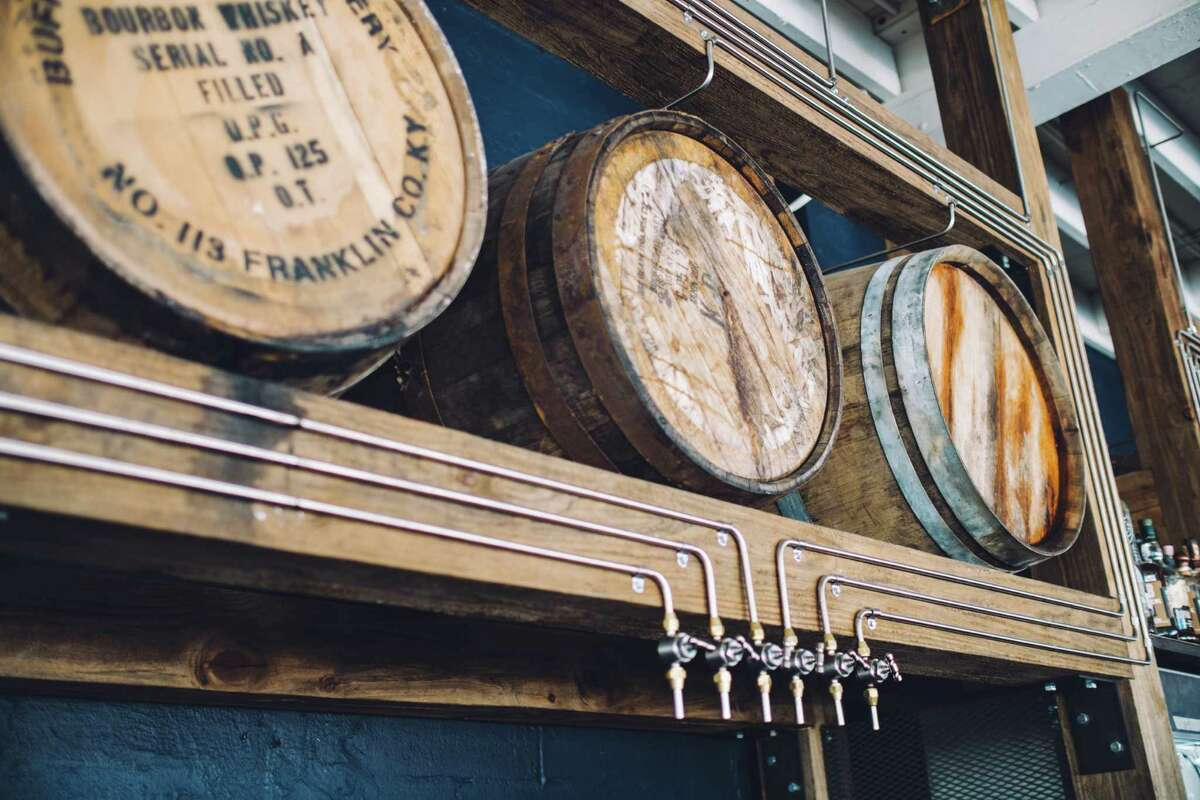 Each of Eight Row Flint's six proprietary barrels is served directly from the barrel using a custom tubing and tap system, allowing the bourbon to continue to age and evolve.