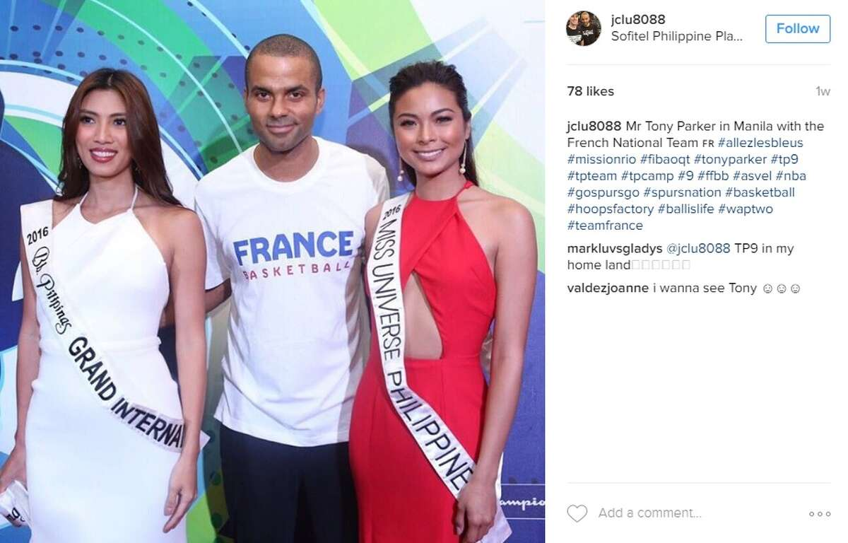 """Mr Tony Parker in Manila with the French National Team #allezlesbleus #missionrio #fibaoqt #tonyparker #tp9 #tpteam #tpcamp #9 #ffbb #asvel #nba #gospursgo #spursnation #basketball #hoopsfactory #ballislife #waptwo #teamfrance,"" @jclu8088."