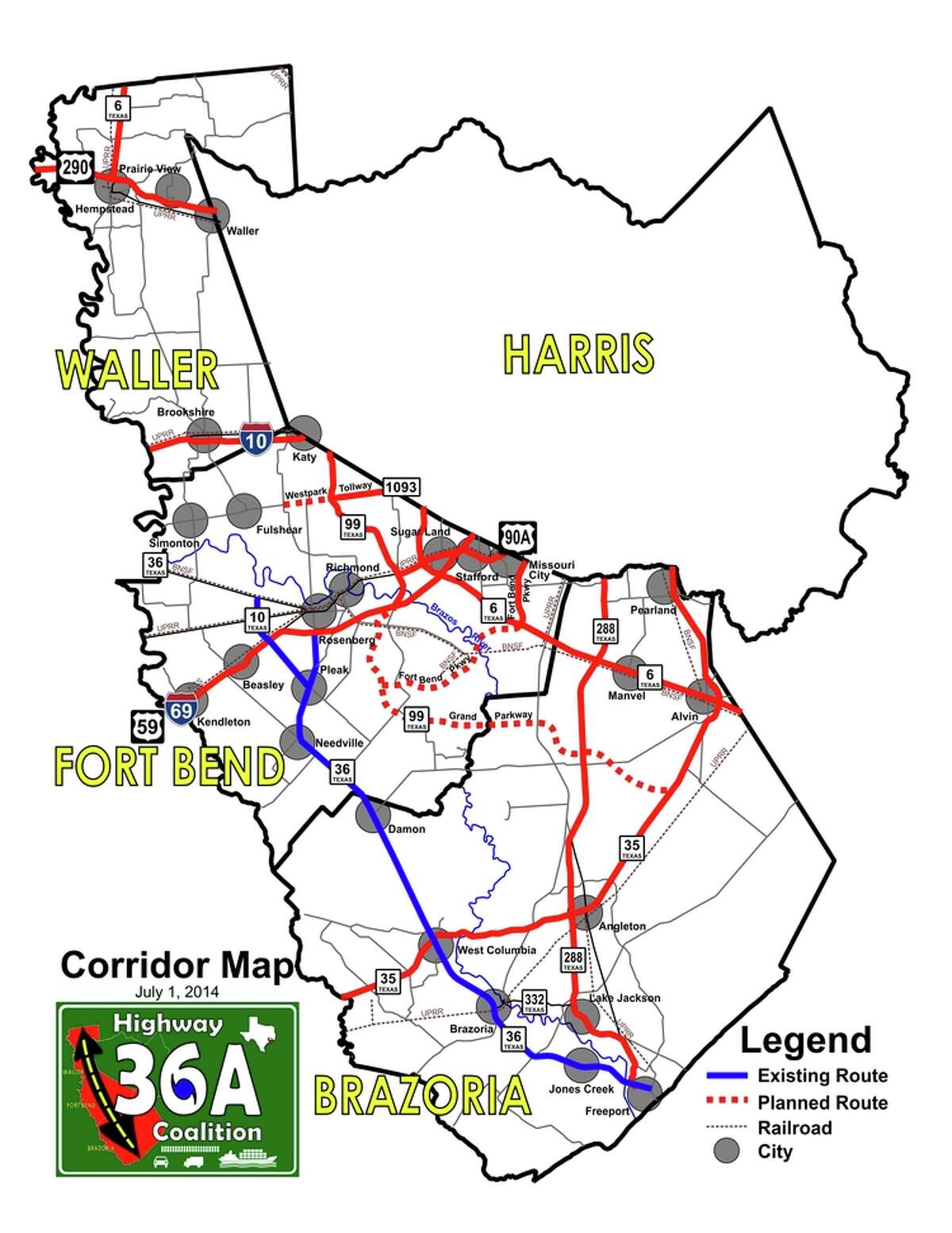 The Highway 36A Coalition promotes public and private investment in a regional corridor originating in and around the Freeport area through southern Brazoria, western Fort Bend and Waller counties connecting to Texas 6 north of Hempstead.