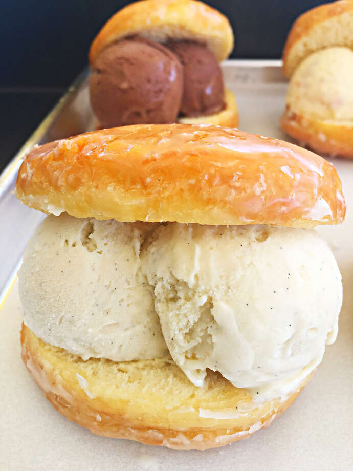 Double-scoop ice cream sandwich made with donuts from Lee's Fried Chicken & Donuts and ice cream from the new Lee's Creamery. This flavor: Vanilla Bean. Photo: Lee's Creamery