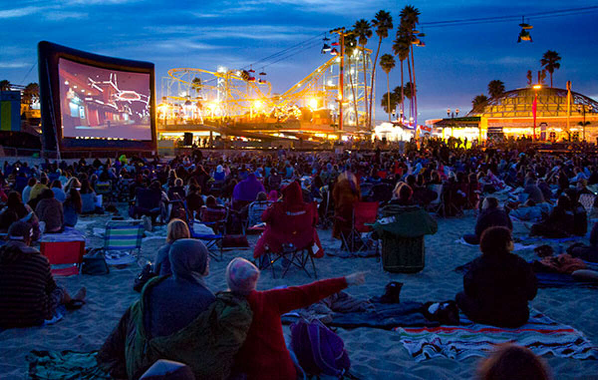 Santa Cruz Beach Boardwalk The Boardwalk hosts films every Wednesday night at 9 p.m. Lawn chairs and blankets are recommended, as the evening breeze off the water cools the beach off after sundown. Next four movies:
