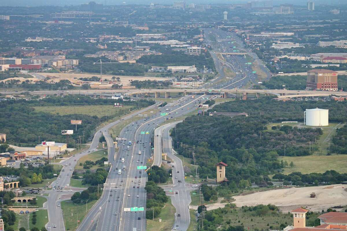 Interstate 10 is being expanded from Loop 1604 to FM 3351. Shown is the area at I-10 and Loop 1604 in 2016, before the project was started.
