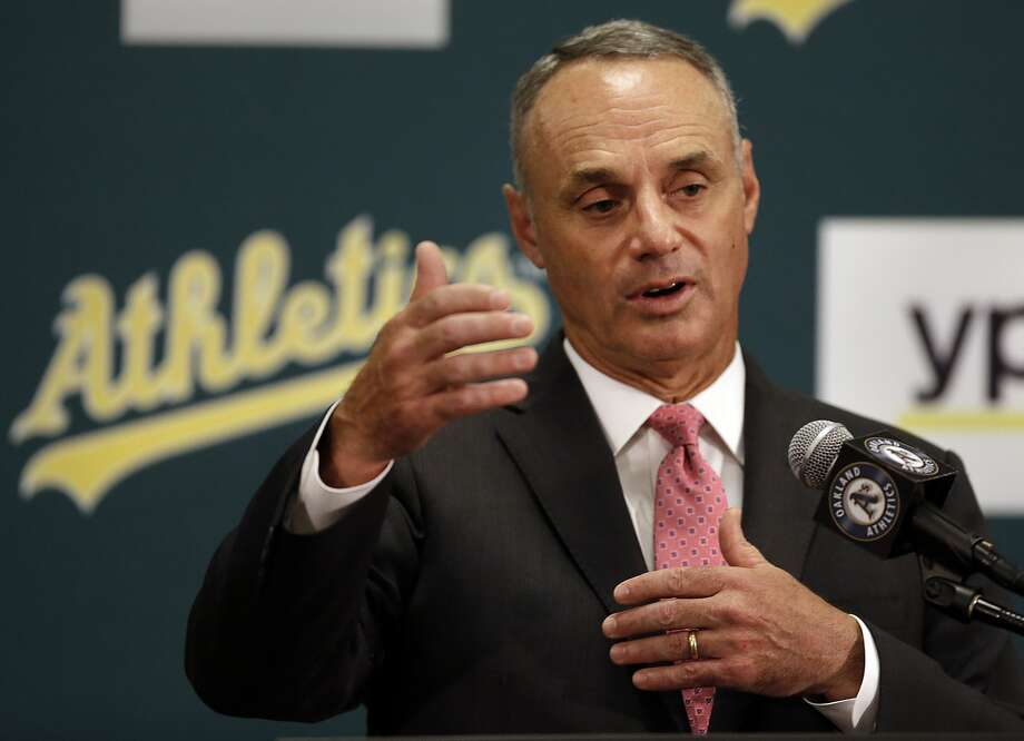 Baseball Commissioner Rob Manfred gestures during a media conference Friday, June 19, 2015, prior to a baseball game between the Los Angeles Angels and the Oakland Athletics in Oakland, Calif. (AP Photo/Ben Margot) Photo: Ben Margot / Associated Press
