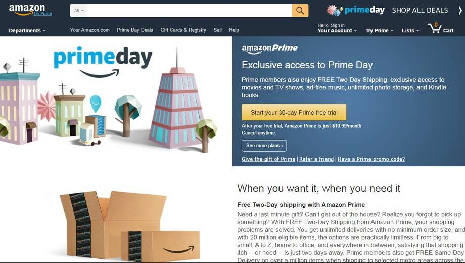 On Tuesday July 12, Amazon will celebrate 21 years in business with a giant sale it's calling Prime Day. Touted to be bigger than anything Black Friday could ever muster, the retail giant will offer a slew of deals and specials to Prime members. Photo: Amazon.com