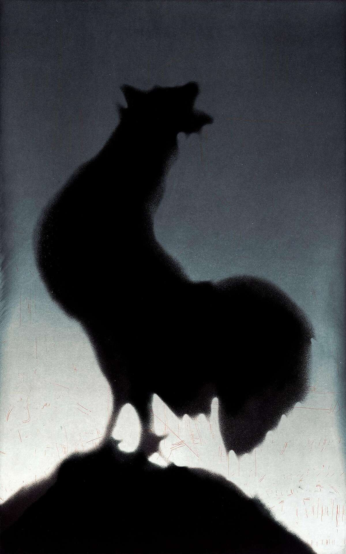 """Ed Ruscha 1988 """"Rooster"""" aquatint"""