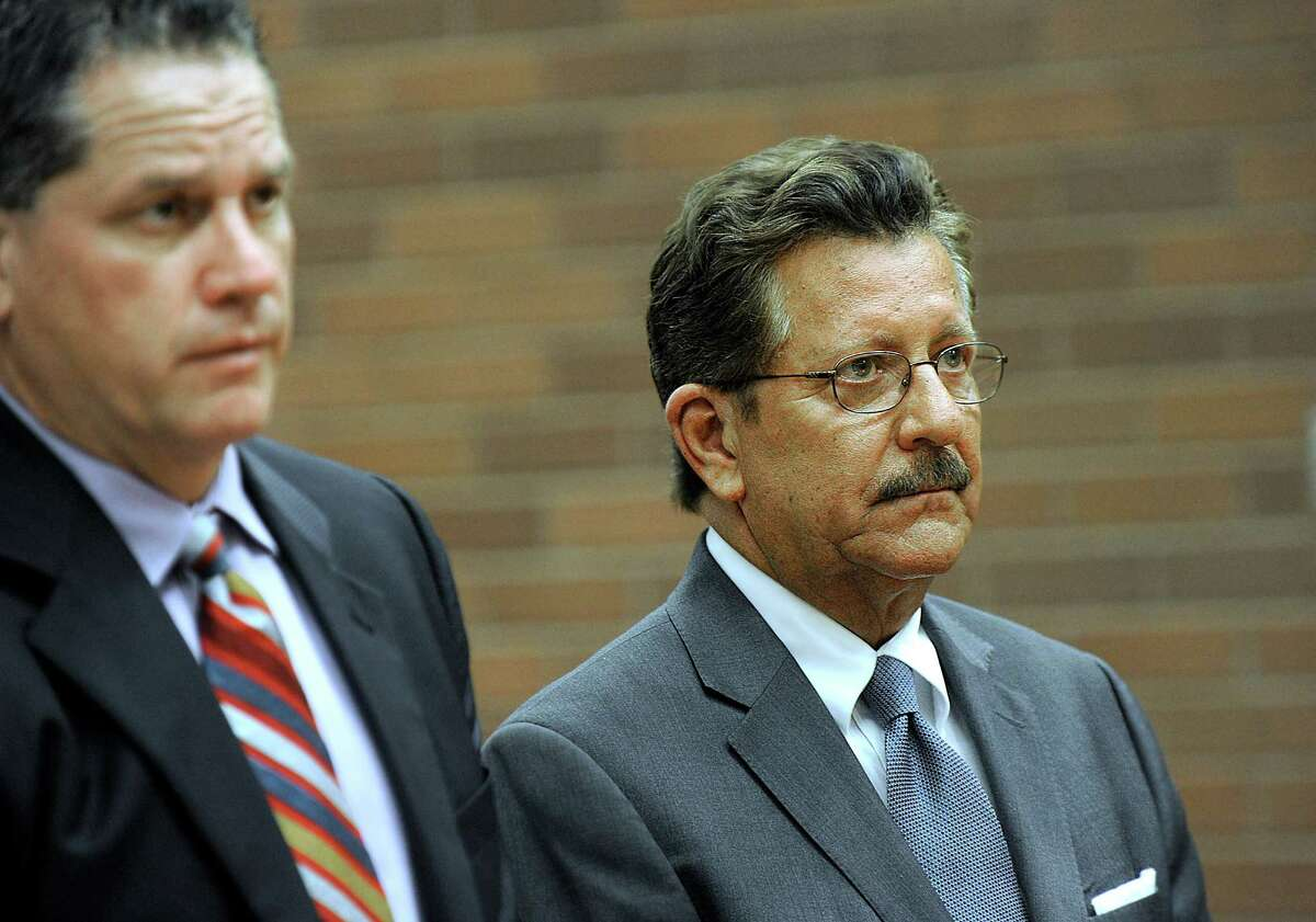 Former Danbury Mayor Eugene Eriquez, right, represented by Attorney Michael McGetrick, appears in state Superior Court in Danbury Tuesday, June 28, 2016, on charges of domestic abuse.