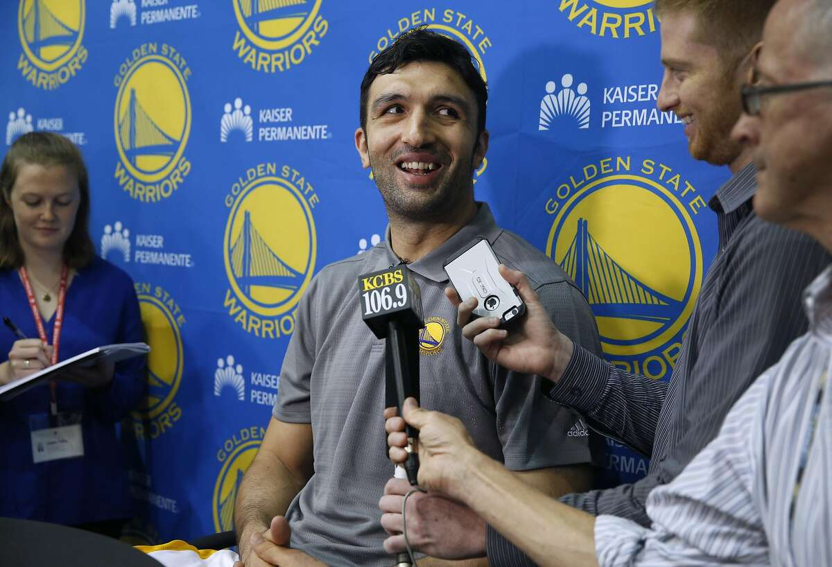 Center Zaza Pachulia meets with reporters at the Warriors practice facility in Oakland, Calif. on Tuesday, July 12, 2016 after signing a one-year, $2.9 million contract with Golden State.