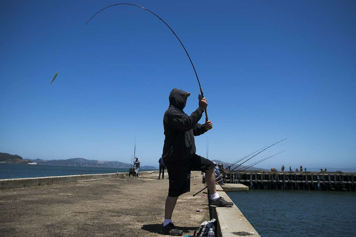 David Border, of San Francisco, casts a line from the Torpedo Wharf pier at the Presidio in San Francisco, Calif. on Tuesday, July 12, 2016.