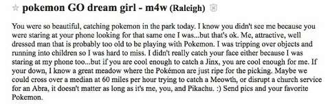 Pokemon Go players try to hook up on Craigslist's 'Missed