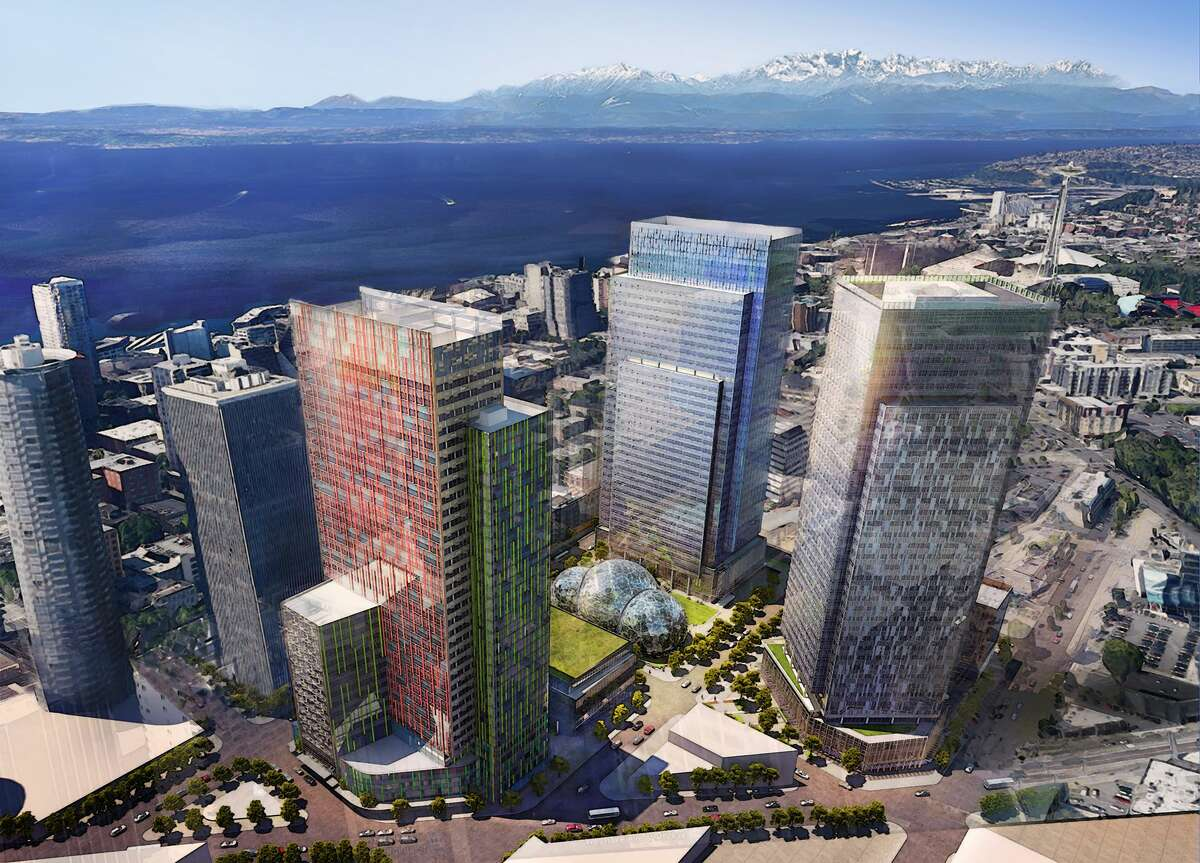 Renderings of the upcoming spheres being built in downtown Seattle as part of Amazon's headquarters.
