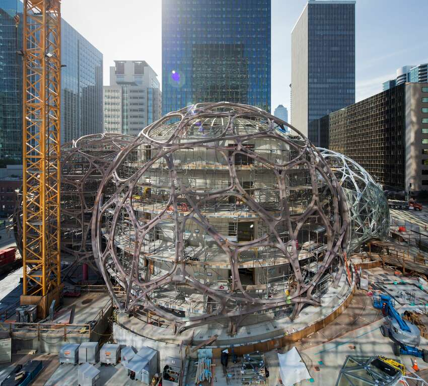 These spheres are currently under construction in downtown Seattle, where Amazon will have parts of its headquarters.