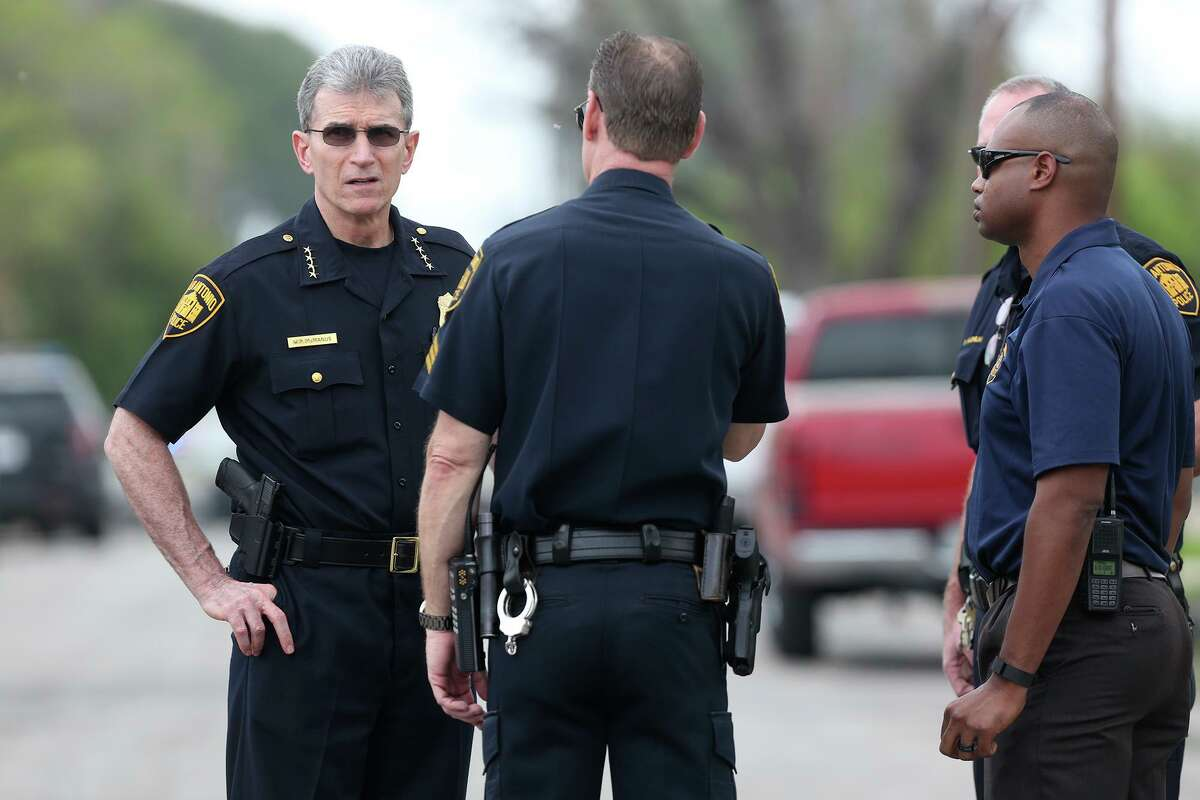 San Antonio law enforcement officials are concerned about an increase in calls for family violence - 18 percent higher in March than a year ago. That was when residents were told to stay home in order to stop the spread of the coronavirus. Police Chief William McManus, left, arrives at the scene of a family violence shooting in 2016.