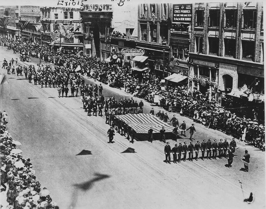 The Preparedness Day parade shortly before the bombing, for which Tom Mooney, was wrongly convicted.  07/22/1916