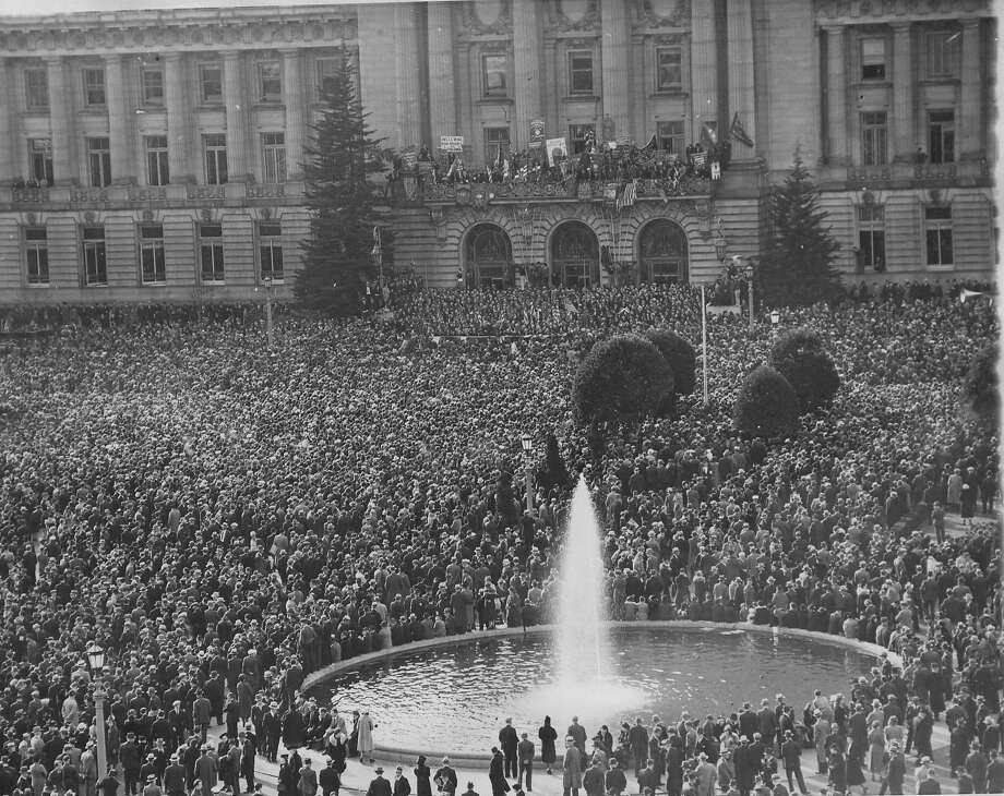 Tom Mooney, wrongly convicted of the Preparedness Day bombing, speaks to a huge crowd at San Francisco City Hall on Jan. 8, 1939, after a parade up Market Street celebrating his release from prison.