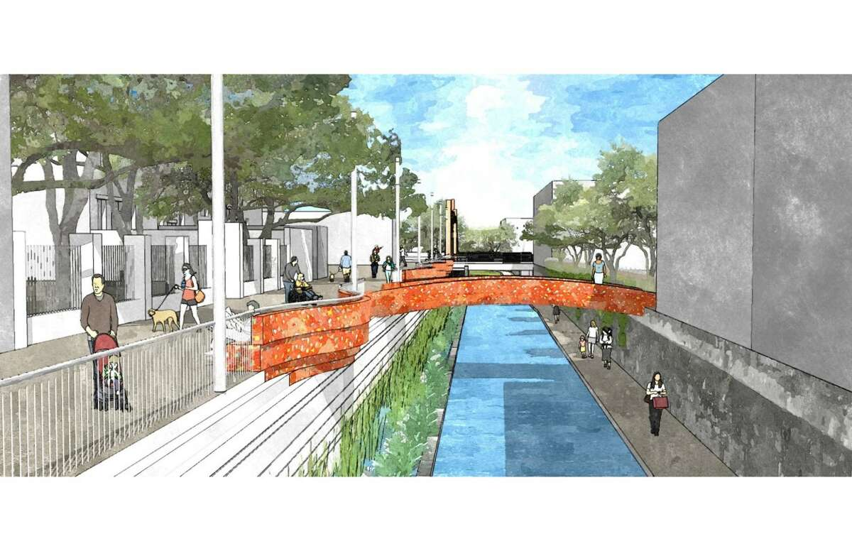 Rendering of a planned segment of San Pedro Creek between West Commerce and Dolorosa streets.