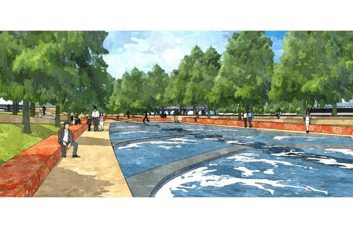 Rendering of a segment of the planned San Pedro Creek Improvements Project, at the northern end of the project near North Santa Rosa Street.