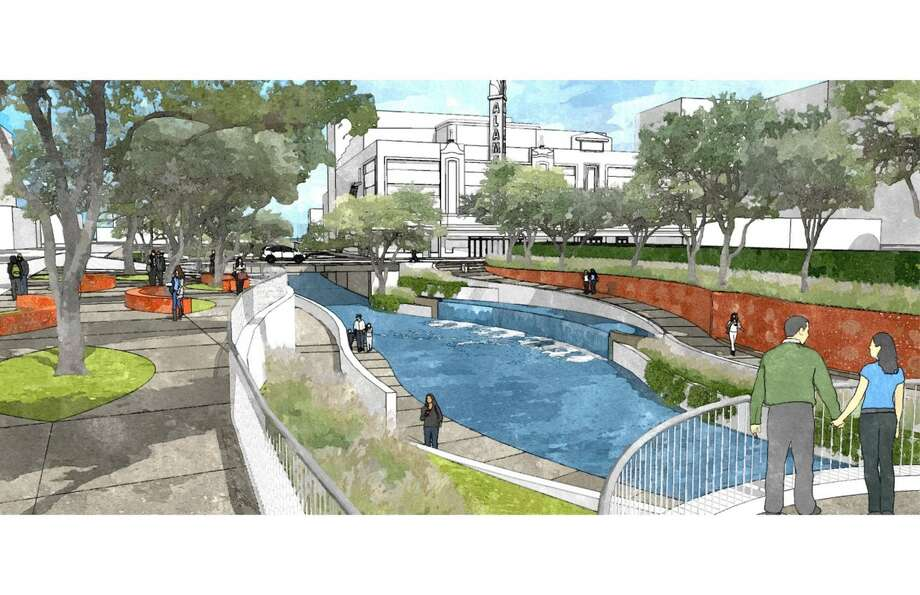 Rendering of the tentative design for a segment of San Pedro Creek near the Alameda Theater. The design, which is considered 70 percent complete, was authorized by Bexar County Commissioners Court on Tuesday, July 12, 2016. Photo: Courtesy Rendering,  Bexar County/San Antonio River Authority
