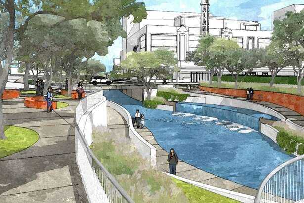 Rendering of the tentative design for a segment of San Pedro Creek near the Alameda Theater. Weston Urban has been snatching up properties around the creek, which the city and county plan to rehabilitate in a $175 million project.
