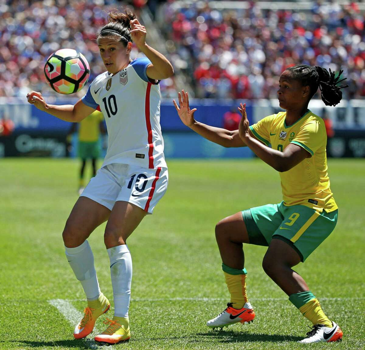 Carli Lloyd, left, saw her first action since April in a friendly against South Africa before the Olympics.
