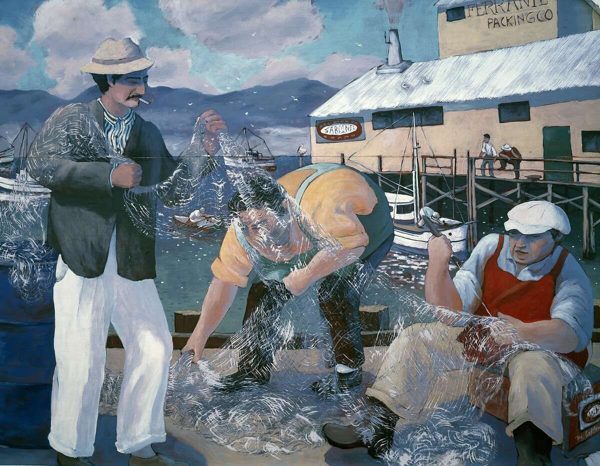 Mural of sardine fishermen repairing their nets along Cannery Row, Monterey, California (Photo by Carol M. Highsmith/Buyenlarge/Getty Images)