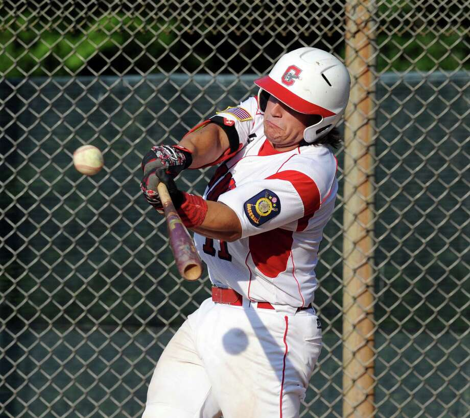Marco Pastore of Greenwich hits during the Senior American Legion baseball game between Greenwich and Fairfield at Greenwich, Conn., Tuesday, July 12, 2016. Photo: Bob Luckey Jr. / Hearst Connecticut Media / Greenwich Time