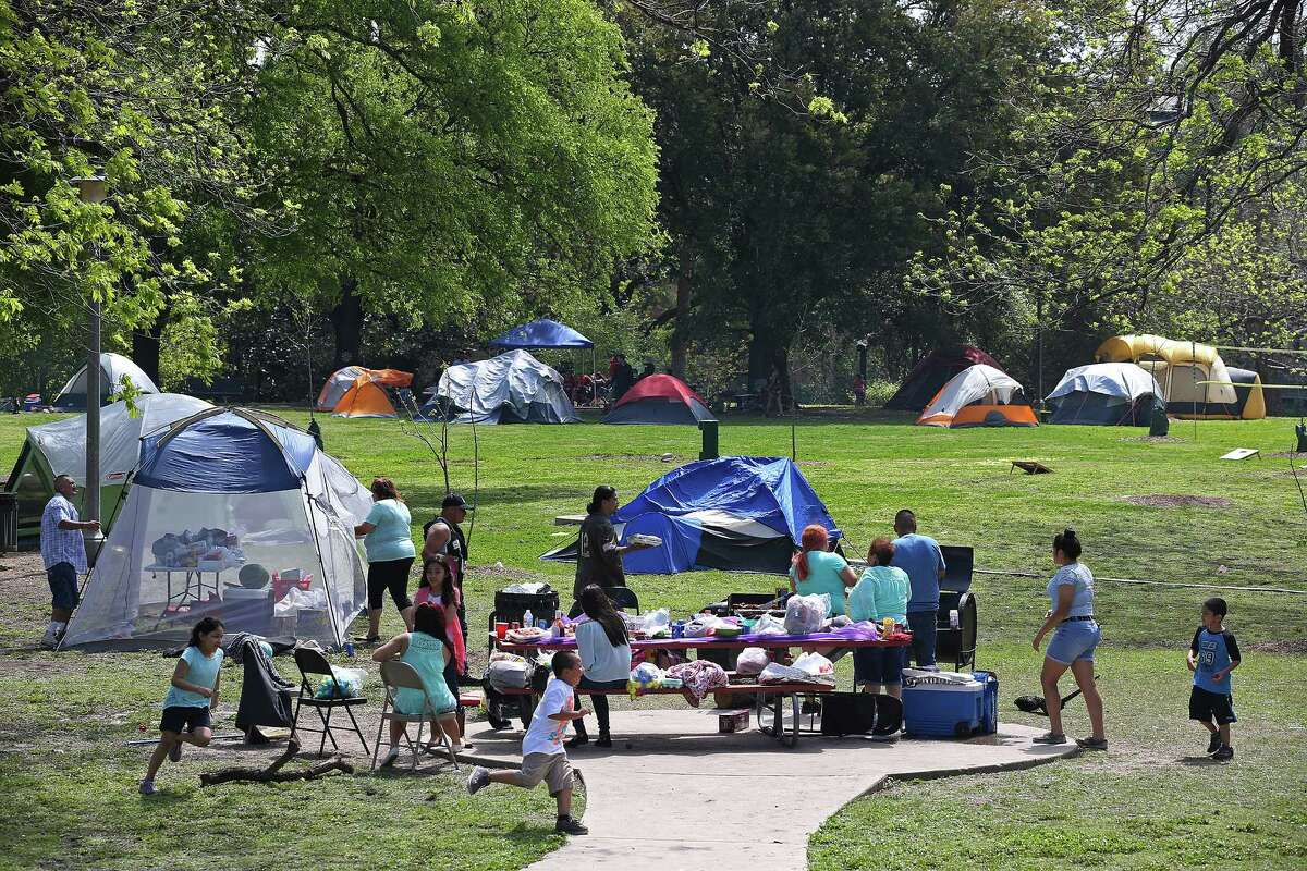 So don't be startled When you see thousands of people camping in San Antonio parks over the extended weekend.