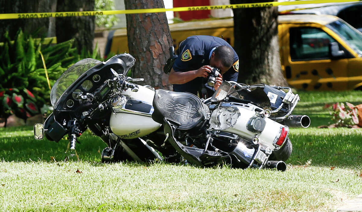 Officer Anthony Zarate lost control of his motorcycle Tuesday in the 8500 block of Ferris, hitting a landscaping crew's trailer. He was a seven-year veteran of the Bellaire Police Department.