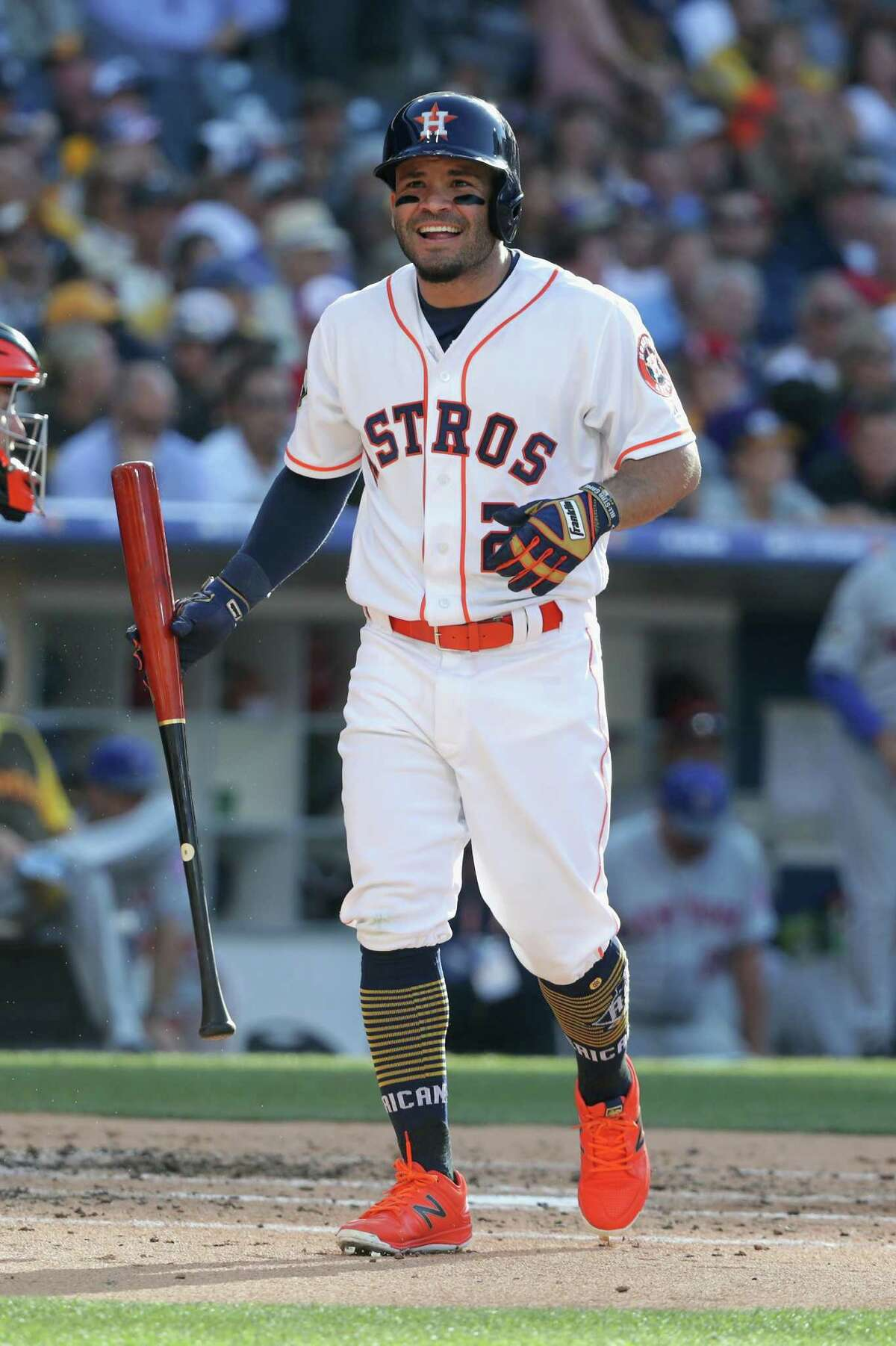 SAN DIEGO, CA - JULY 12: Jose Altuve #27 of the Houston Astros reacts during the 87th Annual MLB All-Star Game at PETCO Park on July 12, 2016 in San Diego, California.