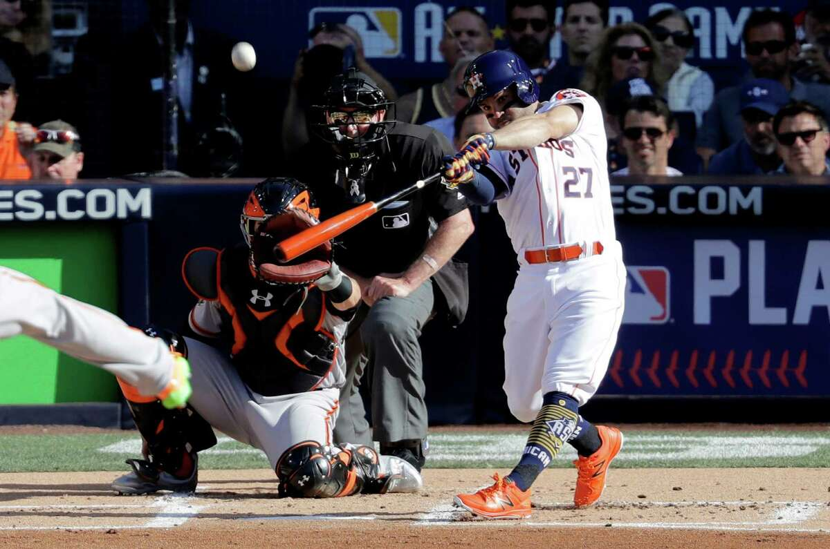 American League's Jose Altuve, of the Houston Astros, hits during the second inning of the MLB baseball All-Star Game, Tuesday, July 12, 2016, in San Diego. (AP Photo/Jae C. Hong)
