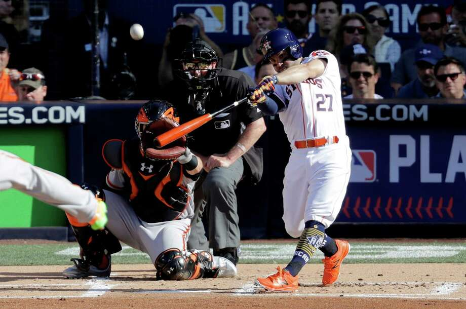 American League's Jose Altuve, of the Houston Astros, hits during the second inning of the MLB baseball All-Star Game, Tuesday, July 12, 2016, in San Diego. (AP Photo/Jae C. Hong) Photo: Jae C. Hong, Associated Press / AP