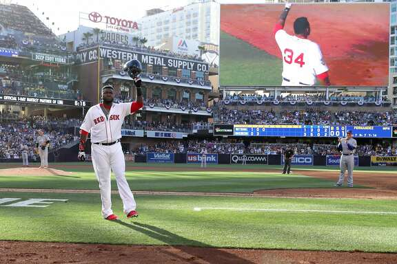 SAN DIEGO, CA - JULY 12:  David Ortiz #34 of the Boston Red Sox and the American League waves to the crowd after he is taken out of the game in the third inning during the 87th Annual MLB All-Star Game at PETCO Park on July 12, 2016 in San Diego, California.  (Photo by Sean M. Haffey/Getty Images)