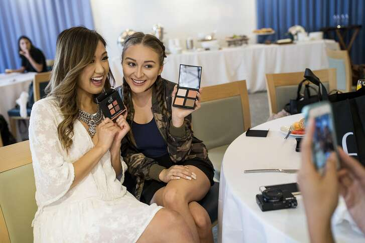Yes Hipolito (right) gets her photo taken with special guest Weylie Hoang during a brunch at the end the e.l.f. Cosmetics Beautyscape weekend event at Hotel Vitale in San Francisco, Calif., on Sunday, July 10, 2016. The brand, which relies on social media instead of more traditional ways of marketing, invited 50 of e.l.f.�s top beauty fans and top digital beauty influencers to the city for the weekend event.