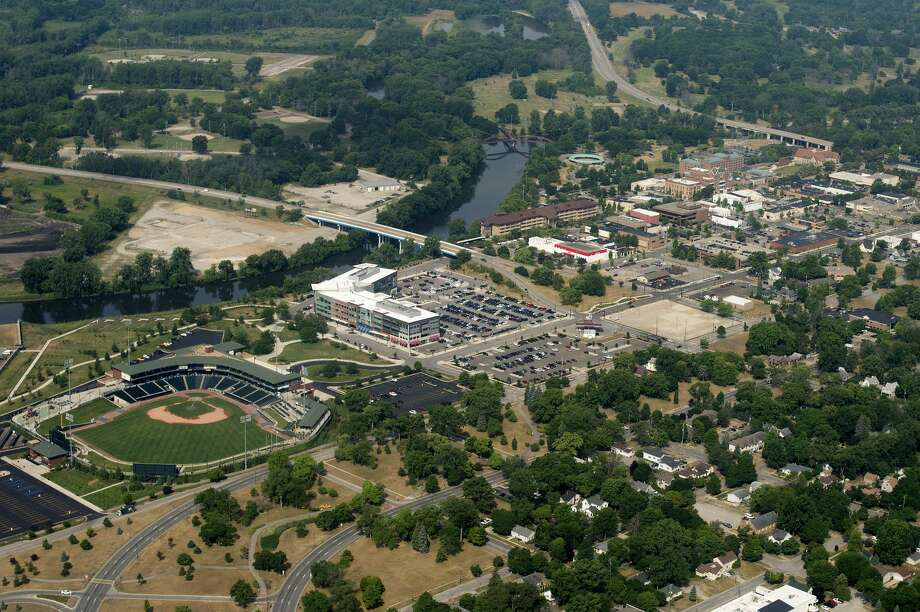 Aerial shot of Dow Diamond, East End and of downtown Midland taken on July 7, 2016. Photo: Brittney Lohmiller/Midland Daily