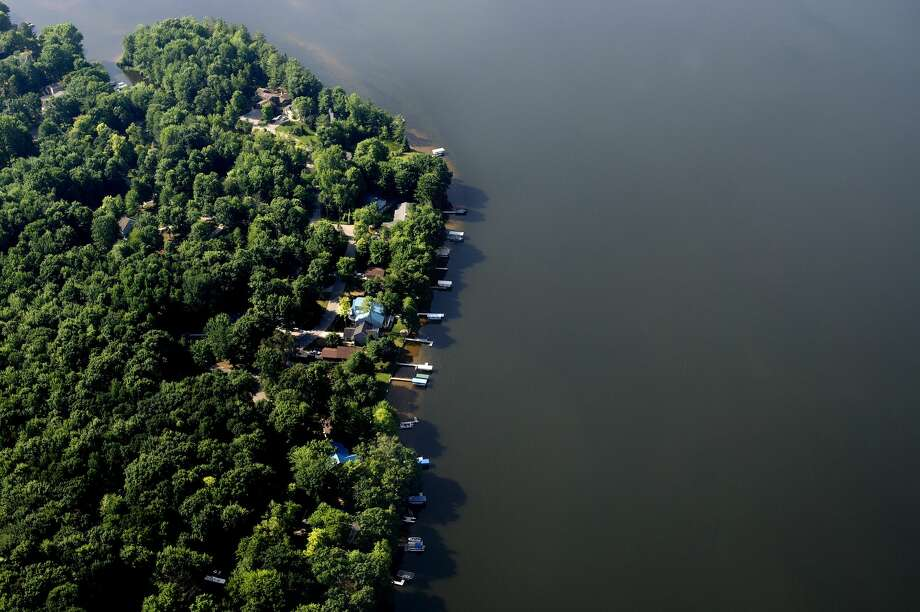 Aerial shot of Sanford Lake taken on July 7, 2016. Photo: Brittney Lohmiller/Midland Daily News