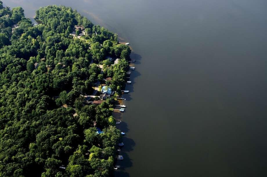 Aerial shot of Sanford Lake taken on July 7, 2016. Photo: Brittney Lohmiller/Midland Daily News