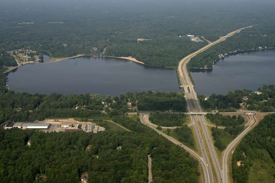 Aerial shot of US-10 crossing over Sanford Lake taken on July 7, 2016. Photo: Brittney Lohmiller/Midland Daily News