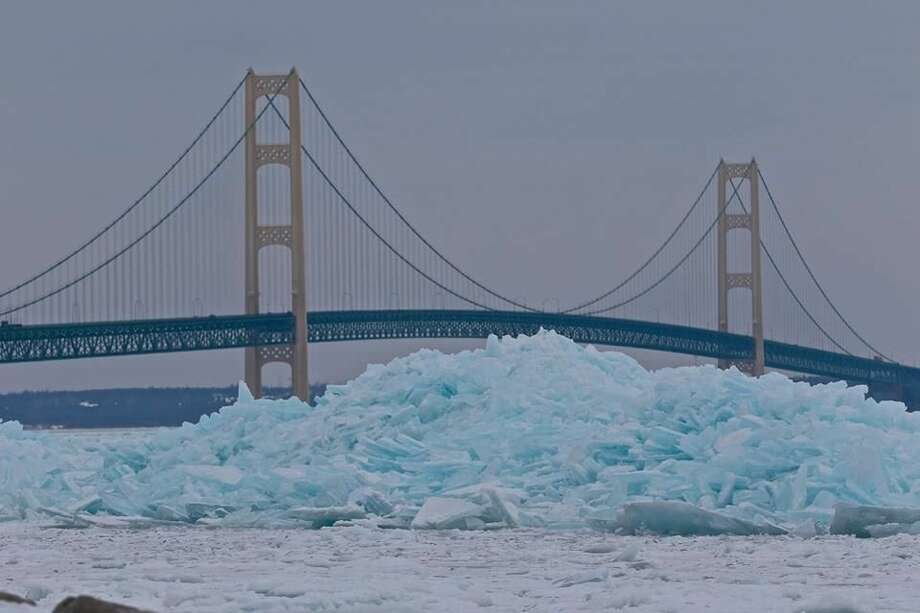 """Kelly Shupe Alvesteffer shared this photo and others onher Facebook pageof """"blue ice"""" stacking up at the Mackinac Bridge. The photo, she wrote, was taken this month. Photo: Kelly Shupe Alvesteffer"""