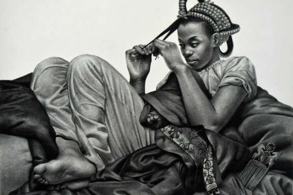 """The charcoal drawing """"Roots"""" is among works in """"From East Nigeria: 19th Century A.D.,""""Kingsley Onyeiwu'sfirst solo show at Hooks-Epstein Galleries."""