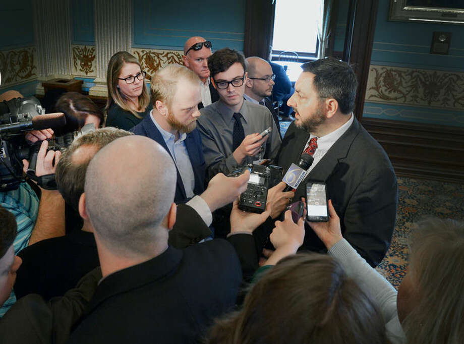 State Sen. Jim Stamas talks to reporters in this file photo.
