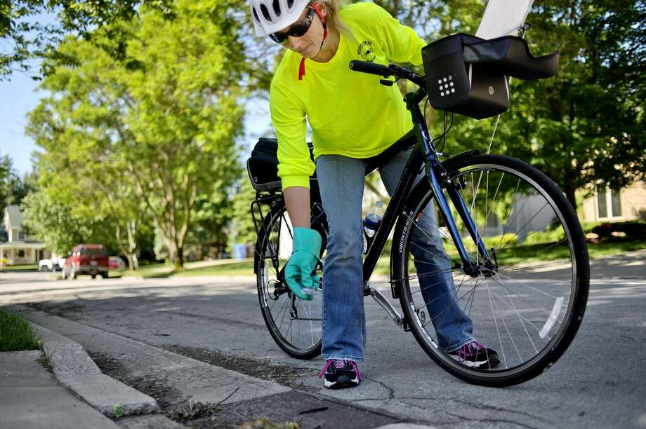 NICK KING | nking@mdn.net Midland County Mosquito Control employee Jessica Fetterman drops a mosquito growth regulator pellet into a water catch basin in Midland on Monday. Fetterman worked her route by bicycle as part of a pilot program. Photo: NICK KING | Nking@mdn.net