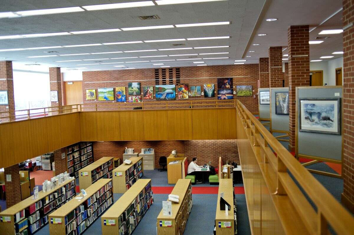 """The Grace A. Memorial Library was designed by renowned architect Alden B. Dow who described the area surrounding the library as the """"Discovery Center"""" during the Midland Center for the Arts' dedication in 1971."""
