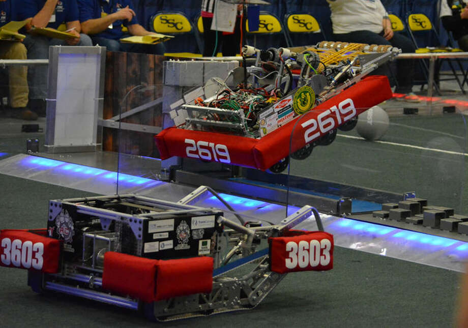 Sir Lancebot, marked as 2619, represented the H.H. Dow High School's FIRST Robotics Team 2619, The Charge, at the Standish-Sterling District Competition. Photo: Photo Provided