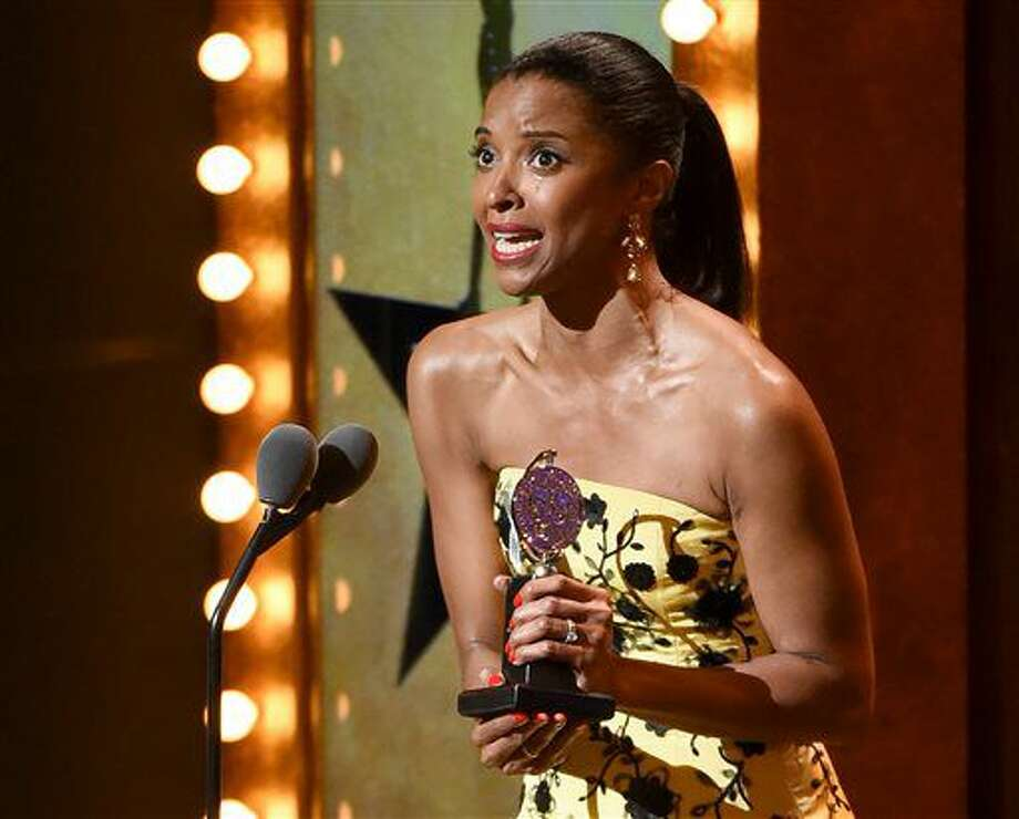 "Renee Elise Goldsberry accepts the award for featured actress in a musical for ""Hamilton"" at the Tony Awards at the Beacon Theatre on Sunday. Photo: Evan Agostini 