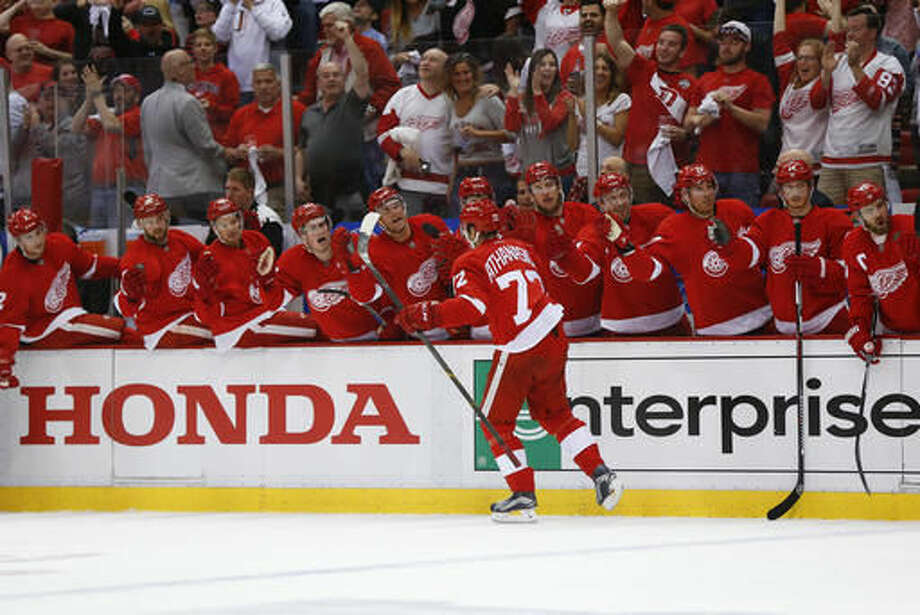 Detroit Red Wings center Andreas Athanasiou (72) celebrates his goal against the Tampa Bay Lightning in the second period of Game 3 in a first-round NHL hockey Stanley Cup playoff series, Sunday, April 17, 2016, in Detroit. (AP Photo/Paul Sancya) Photo: Paul Sancya