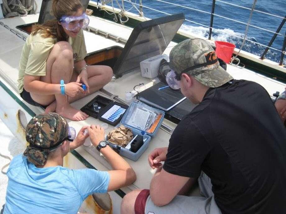 Sea Scholars Kelly O'Keefe, Brody Gibas and Kirill Velat analyze water quality aboard the Appledore V. Photo: Photo Provided