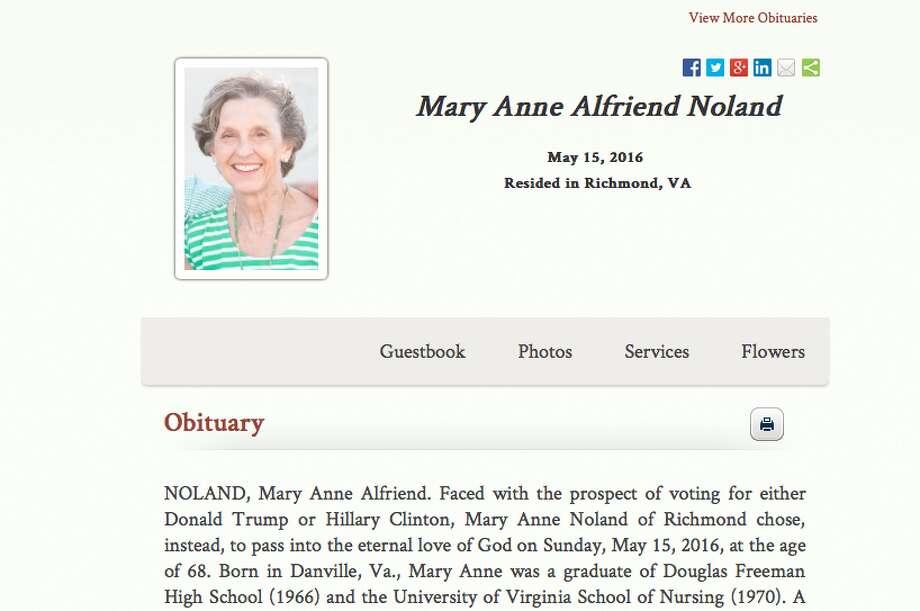 A screenshot of Mary Anne Alfriend Noland's obituary.