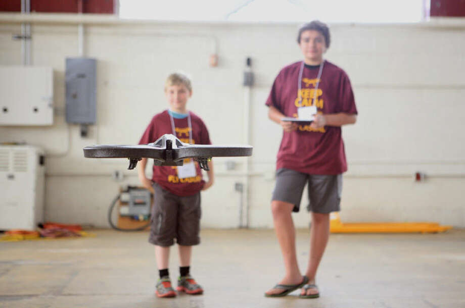 Drone camp kicks off with teaching the middle school students basic functions when controlling a drone. The camp was held in Finch Fieldhouse Photo: Brianna Hughes
