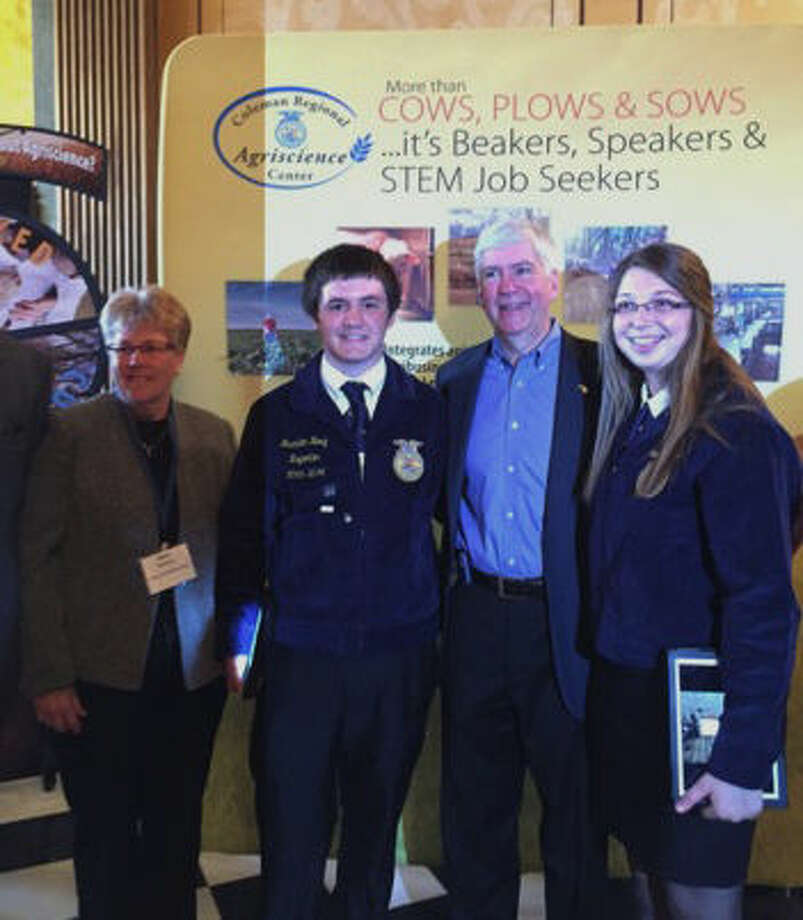 Pictured are Mary Pitchford, Brandon Hoag and Makayla Ogg with Gov. Rick Snyder. Photo: Photo Provided