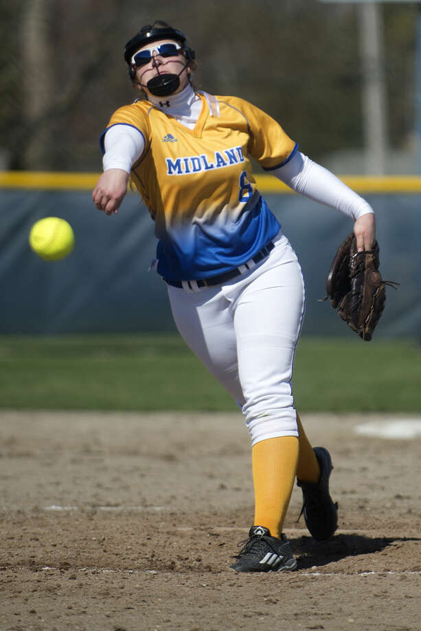 Midland High's Maya Kipfmiller, shown here pitching during a game earlier this spring, is having an incredible season, both in the circle and at the plate. Photo: Brittney Lohmiller | Midland Daily News